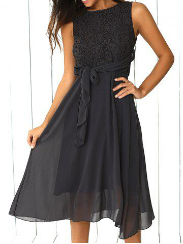 Online Lace Inset Chiffon Maid of Honor Dress