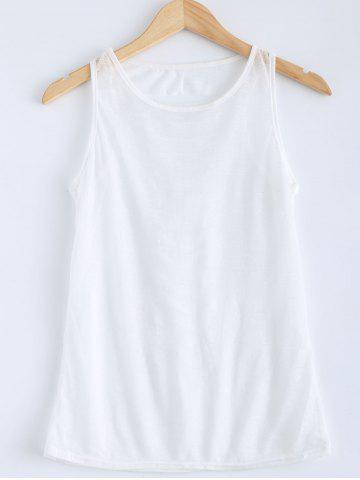 Cheap Candy Color Openwork Tank Top