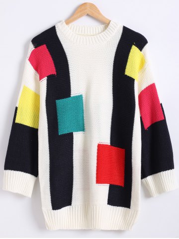 Unique Color Block Loose-Fitting Long Sweater