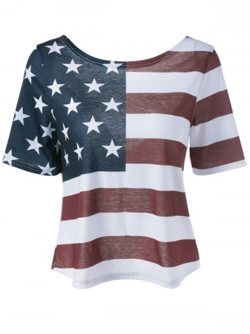 Chic Twist Back Distressed American Flag T-shirt COLORMIX XL