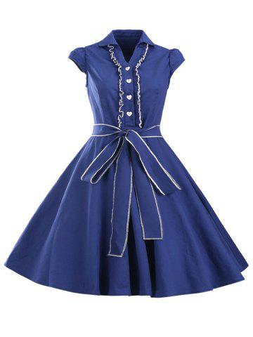 Hot Retro Jabot Ruffle Cape Sleeve Button Flare Dress SAPPHIRE BLUE 2XL