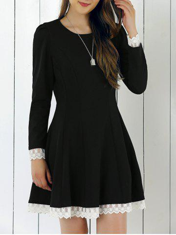 Outfits Lace Patchwork Fit and Flare Dress