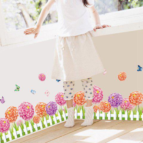 Trendy Fence Flower and Butterfly Design Home Decor Wall Sticker ROSE RED
