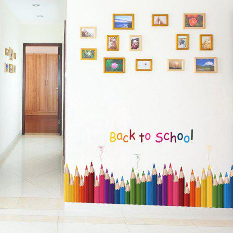 Colorful removable colorful pencil back to school room for Back to school wall decoration