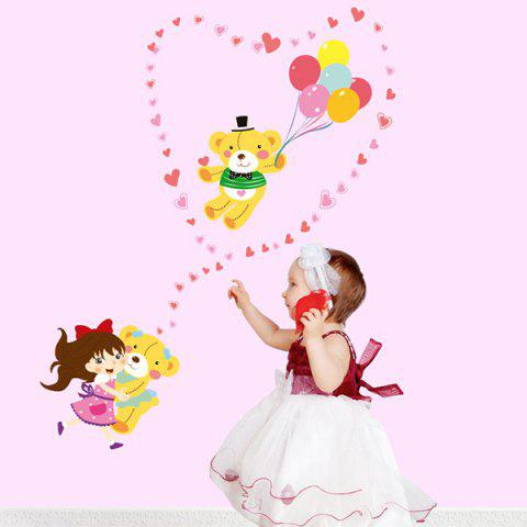 Colorful Cartoon Cute Girl and Bear Removable Decorative Wall Art Sticker - COLORMIX