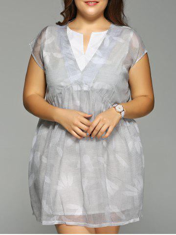 Online Plus Size Feather Print Cap Sleeve Fake Dress GRAY 4XL