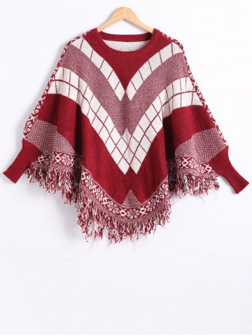 Dolman Sleeves Geometric Pattern Fringed Cape - Red - One Size