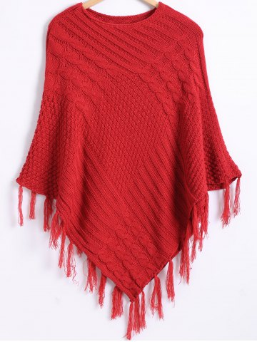 Chic Pure Color Textured Fringed Knitted Cape