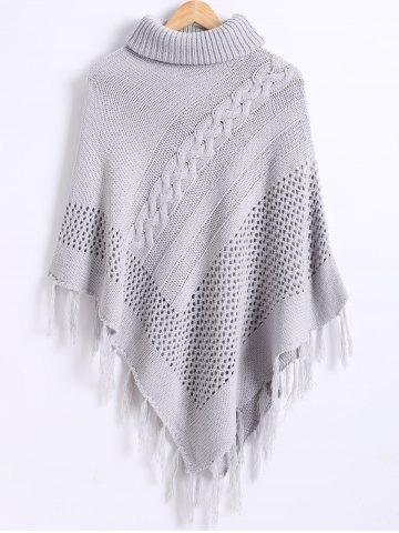 Discount Funnel Neck Fringe Knitted Cape