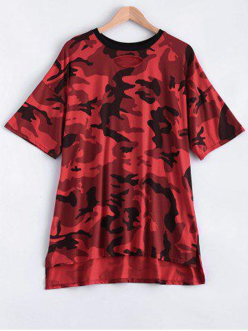 Affordable Cut Out Camo Print High Low T-Shirt Dress RED ONE SIZE