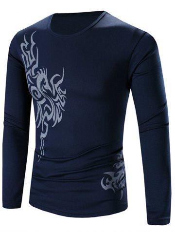 Outfits Round Neck Long Sleeves Printed Tee DEEP BLUE 3XL