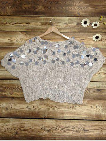 Shops Batwing Sleeves Openwork Sequined Sweater