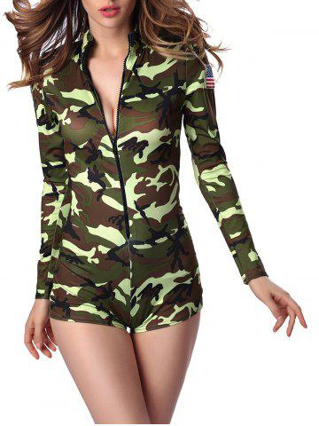 New Letter Cap and Camo Printed Zipped Romper