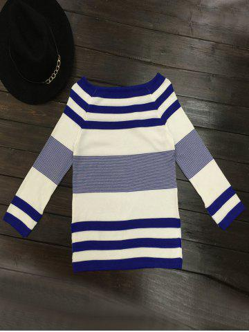 Fashion Long Sleeve Striped Boat Neck Pullover Sweater