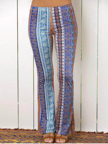 Discount High Waist Tribal Print Flare Pants - S COLORMIX Mobile