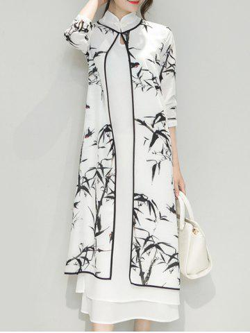 Buy Bamboo Print Side Slit Mandarin Collar Cheongsam Dress Twinset