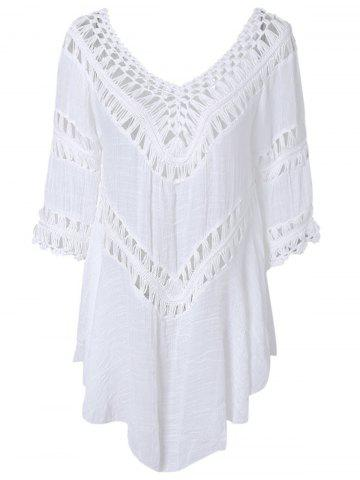 Online Plunge V Neck See-Through Crochet Tunic Top WHITE ONE SIZE
