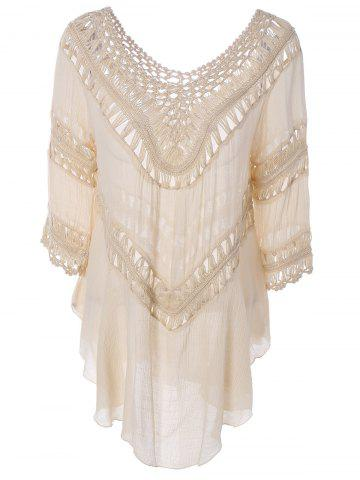 Buy Plunge V Neck See-Through Crochet Tunic Top APRICOT ONE SIZE