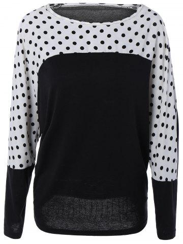 Long Dolman Sleeve Polka Dot Color Block Blouse