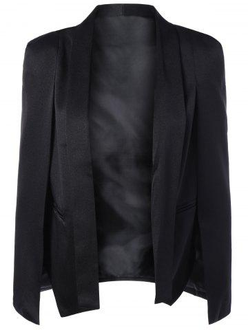 Affordable Slit Shawl Collar Cape Blazer - XL BLACK Mobile