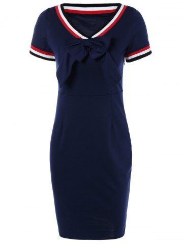 Shops Preppy V Shape Stripe Bowknot Sheath Dress PURPLISH BLUE XL