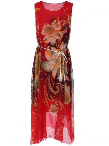 New Sleeveless Floral Print Loose Long Dress