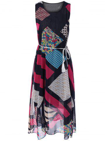 Unique Bohemian Sleeveless Geometric Print Long Dress