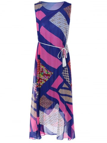 Discount Bohemian Sleeveless Geometric Print Long Chiffon Dress