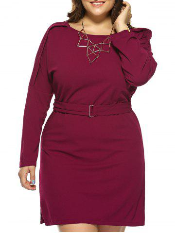 Buy Plus Size Jewel Neck Long Sleeve Dress RED 4XL