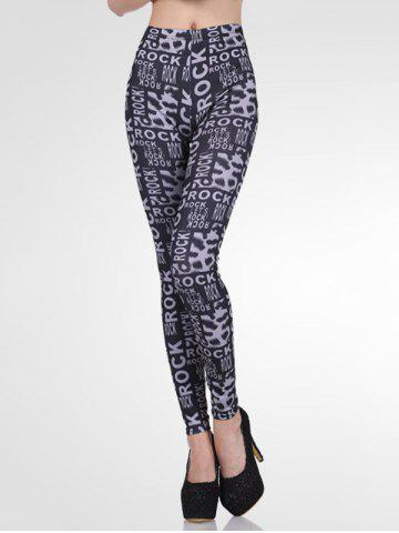 Online High-Waisted Stretchy Letter Print Slimming Leggings