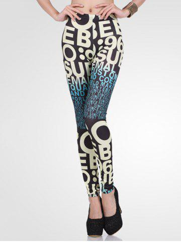 Discount High-Waisted Stretchy Ombre Letter Print Leggings
