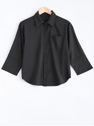 Chic 3/4 Sleeve Pocket Design Buttoned Shirt