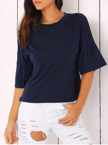 Fashion Bell Sleeve Solid Color T-Shirt