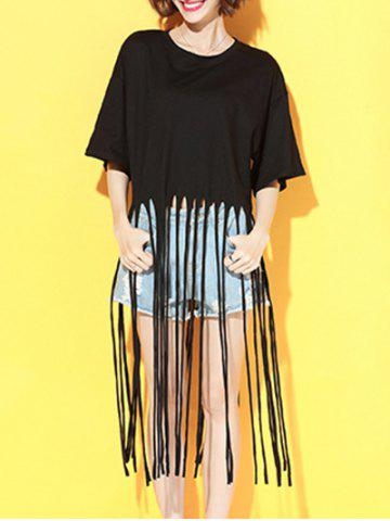 Outfit Fringed Loose-Fitting Solid Color T-Shirt