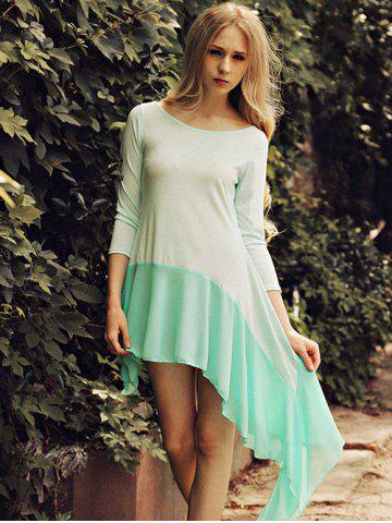 Shops Scoop Neck Splicing Asymmetrical Dress