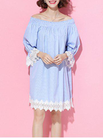 Shop Off The Shoulder Pinstriped Lace Spliced Dress