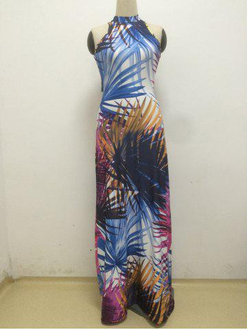 Fancy Stand Collar Printed Furcal Cut Out Dress