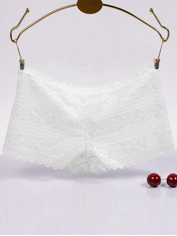 Hot Brief Scalloped Hollow Out Lace Boyleg Briefs