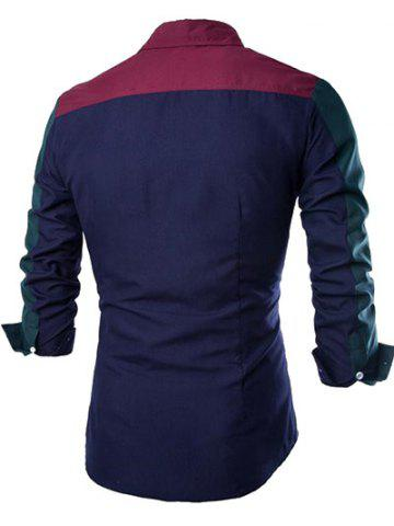 Trendy Color Block Spliced Design Turn-Down Collar Long Sleeve Shirt - L WINE RED Mobile