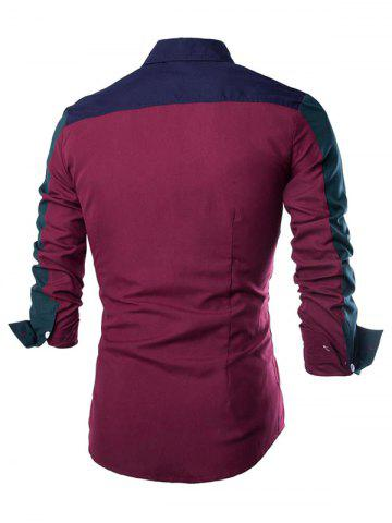 Outfits Color Block Spliced Design Turn-Down Collar Long Sleeve Shirt - M CADETBLUE Mobile