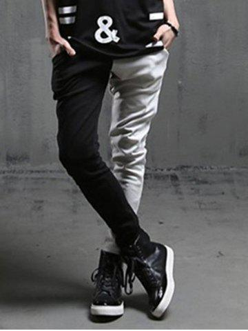 Store Spliced Design Slim Fit Casual Pants