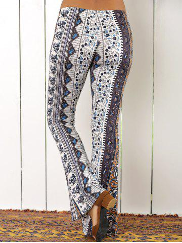 Online High Waist Tribal Geometric Print Flare Pants - S COLORMIX Mobile