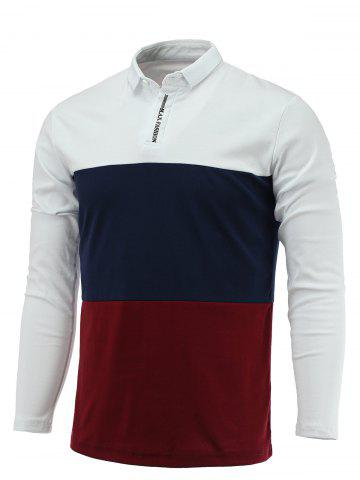 Best Long Sleeve Color Block Letter Printed Polo Shirt WHITE 2XL