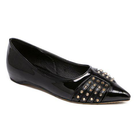 Pointed Toe Rivets Flat Shoes - BLACK - 39