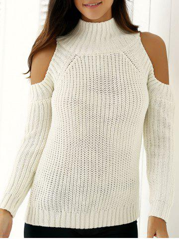 Cheap Warm Cold Shoulder Sweater WHITE ONE SIZE
