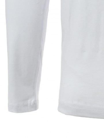 Cheap Brief Color Blocks Spliced Round Neck Long Sleeve Tee For Men - 2XL WHITE Mobile