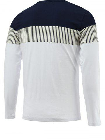 Hot Brief Color Blocks Spliced Round Neck Long Sleeve Tee For Men - 2XL WHITE Mobile