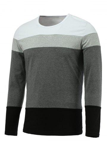 Cheap Brief Color Blocks Round Neck Long Sleeve Tee For Men WHITE 3XL