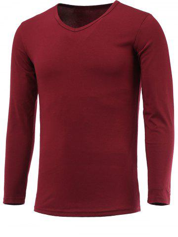 Fashion Long Sleeve Plain V Neck T Shirt