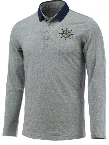 Chic Chic Helm Embellished Polo Collar Long Sleeve Tee For Men GRAY 3XL